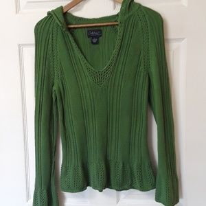 Ashley Judd Sz S Green Ribbed Sweater Hoodie
